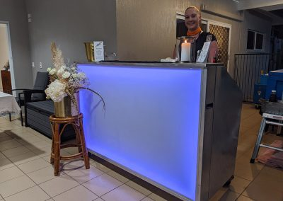 Evie, our event bar lighting up the Hilton